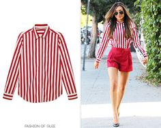 Naya Rivera leaves Goodform Salon, West Hollywood, April 21, 2013  Naya was a candy striper cutie as she left a salon earlier this morning sporting new ombre highlights.  Marc Jacobs Striped Cotton Shirt - $595.00