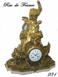 ANTIQUE FRENCH GILT BRONZE CHERUB ROCOCO MANTEL CLOCK