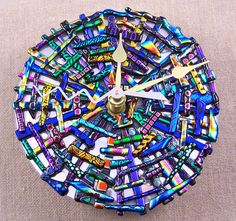 Glass Mosaic Clock - Patterned & Black Rainbow Dichroic Glass Medallion Fused…