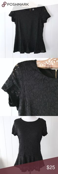 """BOBEAU Black Lace Peplum Top A lovely lace peplum top with an exposed gold zipper in back by bobeau. Fully lined. Size M. Gently worn condition. No rips, holes or stains. Materials: 96% Nylon, 4% Spandex, Lining: 100% Polyester. Approx. measurements: 35"""" Bust, 25"""" Length, 14.5"""" Shoulders, 6"""" Sleeves. Please ask all questions prior to purchase. No trades/holds. Reasonable offers welcome! #bobeau #nordstrom bobeau Tops Tees - Short Sleeve"""