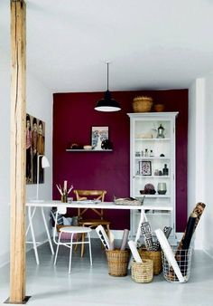 House Wall Colors this combination of berry walls, a putty ceiling, and burgundy