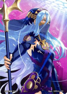 aqua (fire emblem if) blue hair dress elbow gloves face mask fingerless gloves fire emblem fire emblem cipher fire emblem if gloves hair between eyes hairband highres holding holding weapon jewelry kozaki yuusuke long hair mask necklace polearm see-t Character Concept, Character Art, Character Design, Fire Emblem Fates Characters, Fire Emblem Azura, Fire Emblem Laslow, Creepypasta Anime, Manhwa, Yellow Eyes