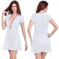 f6a0493e952 Ringed Center 2015 Matches Bikini White Lace knee Length dress Bathing Suit  Cover Up, Bikini