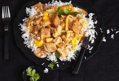 Putencurry mit Mango und Reis