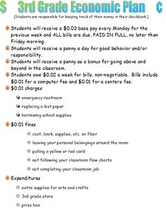 3rd Grade Economic Plan-we use this as a year long project to teach students understand the concept of economics and to help manage classroom behaviors, both good and bad.
