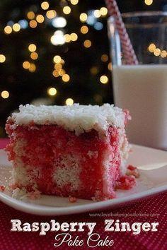 Raspberry Zinger Poke Cake Printable recipe Yield: servings 1 box white cake mix Ingredients listed on box to prepare. Poke Cakes, Poke Cake Recipes, Cupcake Cakes, Dump Cakes, Layer Cakes, Dessert Simple, Raspberry Zinger Cake, Raspberry Fool, Raspberry Recipes