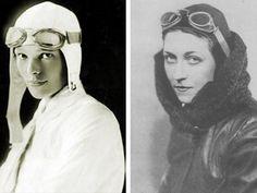 Aviatorinnen in ihren Abenteuer-Ouftis: Amelia Earhart und Amy Johnson in Fliegerjacke und Mütze.