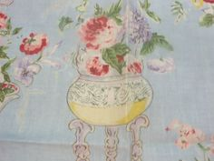 """1 #Vintage GP&J #Baker #Fabric  24""""x 25""""  J U  S T for $12.99  R 1361  3,   R 1361  4 Blush China Blue, Cream 100% Linen  Made in United Kingdom                        ... #fabric #supplies #baker #free #sample #florian #gift #vintage #quater"""