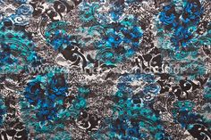Stretch Printed Lace (Black/Turquoise/Multi)