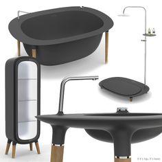 The Modern Nomad freestanding bathtub, sink, shower and cabinet in dark grey Corian. Corian Sink, Dupont Corian, Freestanding Bathtub, Bathroom Collections, Dream Bathrooms, Bath Time, Bathroom Furniture, Architecture, Design Process