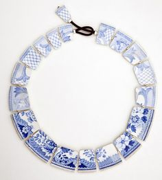"Necklace | Julie Decubber.  ""SCENE DE MENAGE"" from her Faience / Earthenware collection"