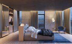 chambre à coucher moderne avec un faux plafond et un éclairage led indirect