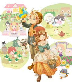 Harvest Moon: Connect to a New Land 3DS cover art I want it so bad!! The girl main character is so cute! XD