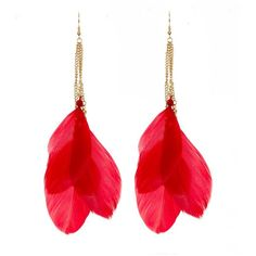 Red Feather Drop Earrings ($4.55) ❤ liked on Polyvore featuring jewelry, earrings, accessories, bijoux, brincos, red, feather jewelry, red drop earrings, chain drop earrings and red feather earrings