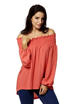 JcKube Womens Sexy Casual Loose Off Shoulder Blouse Tops * Want additional info? Click on the image.
