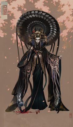 Geisha Anime, Geisha Art, Fantasy Characters, Female Characters, Fantasy Character Design, Character Art, Kitten Tattoo, Japan Art, Anime Outfits