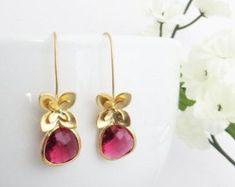 Mother's Day Gift, Flower Earrings, Ruby Earrings, Long Earrings, Birthday Jewelry, Earrings for Wife, Bridesmaid Earrings, Wedding Jewelry