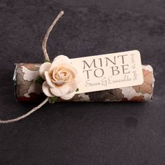 """Mint wedding Favors - Set of 24 mint rolls - """"Mint to be"""" favors with personalized tag - fall wedding, leaves, fall in love tag, fall theme"""