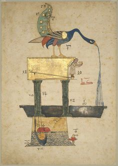 Illustration from the Book of the Knowledge of Ingenious Mechanical Devices by al-Jazari - 1354 (Museum of Fine Arts, Boston)