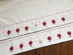 Vintage style Pilllowcase set Red Ware Hand embroidered yoyo flowers & button