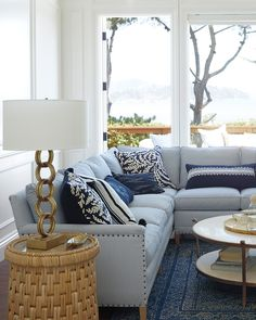 Shop our Living Room Collections at Serena and Lily. Complete the look you want in your living space. Coastal Living Rooms, Home Living Room, Living Room Decor, Blue And White Living Room, Blue Rooms, White Decor, Dining Room Design, Living Room Furniture, Beach House Furniture