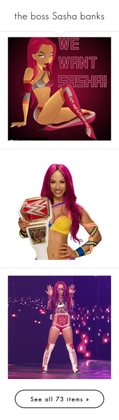 """the boss Sasha banks"" by shorrtiee16bhadd ❤ liked on Polyvore featuring home, home decor, small item storage, sasha banks, wwe, cena and tops"