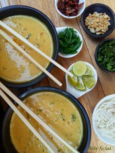 Delectable Platter: Khao suey /Burmese Vegetable and Coconut Curry Sou...