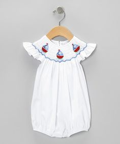 Take a look at this White Watermelon Smocked Bubble Bodysuit - Infant by Fantaisie Kids on #zulily today!