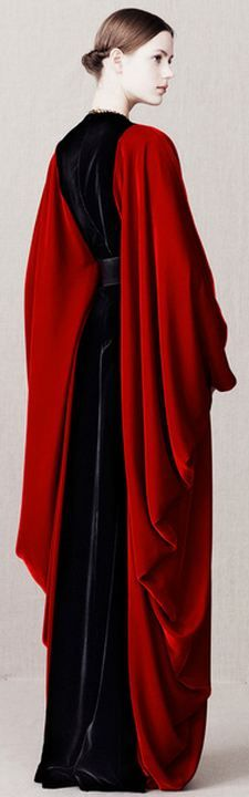 Gowns Pagan Wicca Witch:  #Gown with dramatic red sleeves.