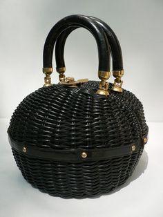 vintage 1950s round black woven straw plastic handbag
