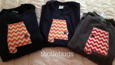 Auburn, Alabama, UT Tennessee, LSU, UGA State Long Sleeve Tee Shirt Chevron Football team on Etsy, $26.00