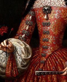María Luisa de Orleans, Queen of Spain, detail, by José García Hidalgo