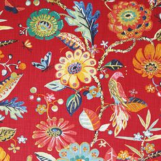 Fabric Ideas P Kaufmann Bal Harbor Red Swedish Floral Sewing Hacks, Sewing Projects, Sewing Ideas, Sewing Table, Drapery Fabric, Curtains, Fabulous Fabrics, Window Coverings, Window Treatments