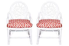 Rattan Chair w/ Thibaut Fabric on OneKingsLane.com