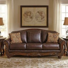 That Furniture Outlet - Minnesota's #1 Furniture Outlet. We have exceptionally low everyday prices in a very relaxed shopping atmosphere. Ashley Mellwood Walnut Leather Sofa thatfurnitureoutlet.com #thatfurnitureoutlet  #thatfurniture  High Quality. Terrific Selection. Exceptional Prices.