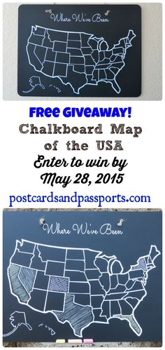 Chalkboard USA Map Giveaway! - Postcards & Passports