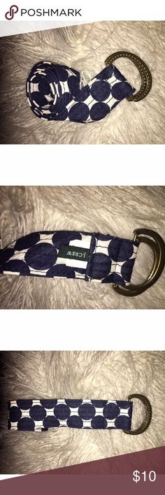 """J. Crew Navy Polka Dot Belt Sz M/L J.Crew navy and winter white polka dot fabric belt size M/L. Features a brass tone textured buckle. Perfect accent to your outfit. Belt is 1 3/4"""" thick (this is the height that will go through the belt loops of you wanted to wear it through loops) and is 44"""" in length. Please ask any and all questions prior to purchase. J. Crew Accessories Belts"""