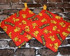 Pokemon Red Pot Holder Set by deezignz. Explore more products on http://deezignz.etsy.com