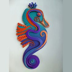 Seahorse Song Large Unique Clock or Wall Art 3D in Rainbow Polymer Clay. Earth Charity 100%. $85.00, via Etsy.