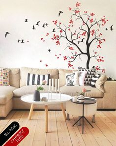 large nursery tree wall decal with flying birds and cute leaves baby room wall mural sticker
