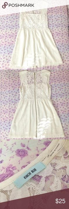 White lace urban outfitters fit and flare dress Gorgeous lace white dress from Urban Outfitters (Kimchi Blue). Fit and flare style, size 12. Zipper has a little wear to it, but it was like that when I got it, so who knows? it could be part of the design ahaha and it works perfectly fine. Super versatile and can be dressed up or down! #urbanoutfitters #whitedress #lacedress  #lacewhitedress #whitelacedress #urbanoutfittersdress #uo #fitandflare #fitandflaredress Urban Outfitters Dresses Mini