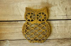 Vintage 70s Large Owl Cast Iron Trivet Retro by SycamoreVintage