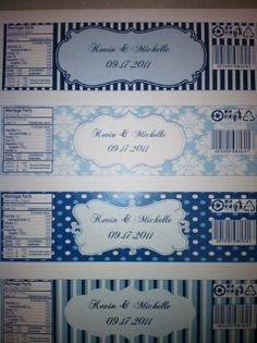 gartner labels templates - water bottle labels now with templates wedding blue