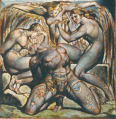 Le Mort Joyeux (hideback:   William Blake (English, 1757 – 1827) ...) William Blake Art, William Blake Paintings, La Madone, Arte Tribal, Arte Horror, Classical Art, Occult, Oeuvre D'art, Great Artists