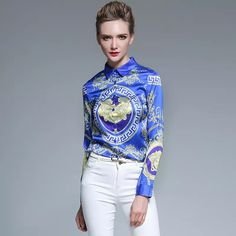0c978b9ee77f4 2017 New Spring Fashion Printing Women Elegant Temperament Vintage Lapel  Blouse Personality Cultivation Slim Fit Office
