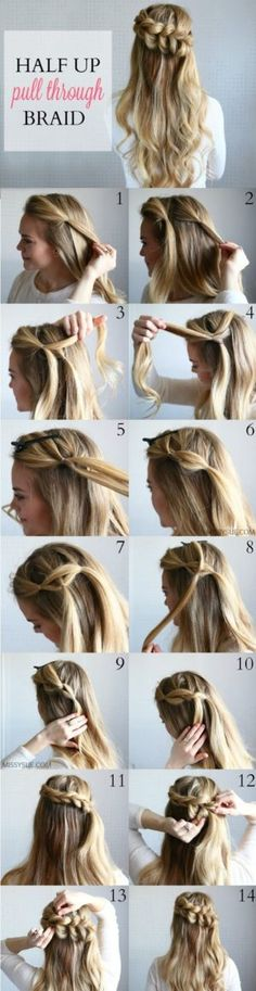 Half up pull through braid