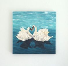 Handmade Seashell Mosaic Collage Artwork Wall Decor by SeashellBeautyinArt 3d Wall Decor, 3d Wall Art, Art 3d, Creative Wedding Gifts, Creative Gifts, Swan Pictures, Swan Painting, Collage Artwork, California Art