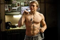 Who cares if Charlie Hunnam isn't our Christian Grey? He's still making movies like Pacific Rim where he's losing his shirt with regularity. And it's nice to see him out of his Sons of Anarchy duds and freshly shaven. Christian Grey, Sons Of Anarchy, Roi Arthur, King Arthur, Charlie Hunnam Soa, Queer As Folk, Jax Teller, Cinema, Raining Men