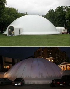 Pressurised 30m dia inflatable dome from Fabric Structure Systems