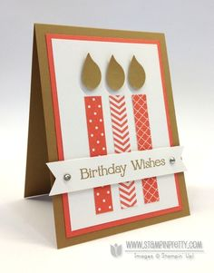 Stampin up -  birthday candle flames are from the bird builder punch - by mary fish